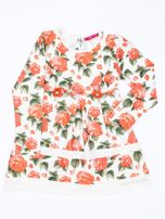 Pomarańczowa sukienka dla dziewczynki w kwiaty z tiulową aplikacją                                  zdj.                                  1