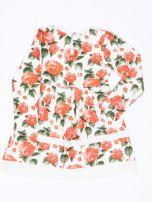 Pomarańczowa sukienka dla dziewczynki w kwiaty z tiulową aplikacją                                  zdj.                                  2