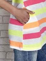 Pomarańczowa tunika w kolorowe pasy                                  zdj.                                  6