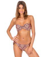 Pomarańczowe wiązane bikini w geometryczne wzory                                  zdj.                                  5