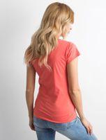 Pomarańczowy damski t-shirt z napisem                                  zdj.                                  2
