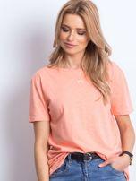 Pomarańczowy t-shirt z głębokim dekoltem z tyłu                                  zdj.                                  4