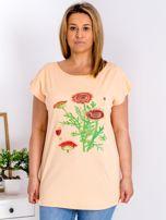 Pomarańczowy t-shirt z kwiatowym printem PLUS SIZE                                  zdj.                                  1