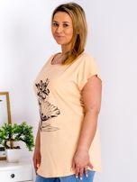 Pomarańczowy t-shirt z motywem roślinnym PLUS SIZE                                  zdj.                                  5