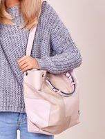 Pudroworóżowa torba shopper z geometrycznymi modułami                                  zdj.                                  4