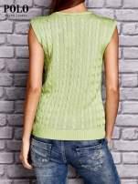 RALPH LAUREN Limonkowy sweter z warkoczowym splotem                                  zdj.                                  2