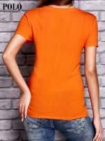 RALPH LAUREN Pomarańczowy t-shirt z trójkątnym dekoltem                                  zdj.                                  3