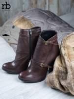 ROCCOBAROCCO Brązowe botki skórzane genuine leather na słupku ze złotymi klamerkami                                  zdj.                                  1