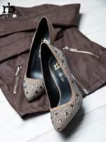 ROCCOBAROCCO beżowe szpilki dual leather z błyszczącymi kamieniami                                   zdj.                                  1
