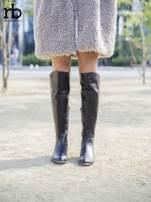 ROCCOBAROCCO brązowe skórzane kozaki genuine leather do kolan z asymetryczną cholewką                                  zdj.                                  3