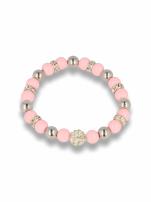 Różowa Bransoletka koralikowa z kulką schamballa                                  zdj.                                  1