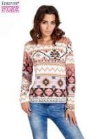 Różowa bluza w azteckie wzory z gipiurą                                  zdj.                                  1