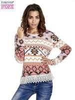 Różowa bluza w azteckie wzory z koronką                                  zdj.                                  1
