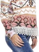 Różowa bluza w azteckie wzory z koronką                                                                          zdj.                                                                         7