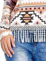 Różowa bluza w azteckie wzory z koronką z frędzlami                                                                          zdj.                                                                         5