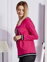 Różowa bluza z herbem z dżetów                                   zdj.                                  6