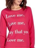 Różowa bluza z napisem LOVE ME i dłuższym tyłem                                  zdj.                                  5