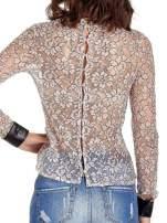 Różowa bluzka koszulowa z koronki ze skórzanymi mankietami                                  zdj.                                  6