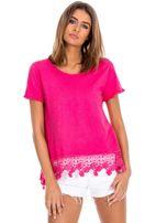 Różowa bluzka z koronkowym wykończeniem                                  zdj.                                  1