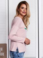 Różowa bluzka z kwiatowym haftem                                  zdj.                                  3