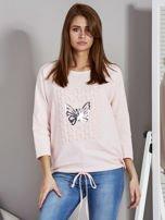 Różowa bluza z motywem motyli                                  zdj.                                  1
