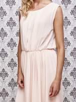 Różowa grecka sukienka maxi z koronką z tyłu                                  zdj.                                  5