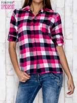 Różowa koszula w kratę z kieszonką                                  zdj.                                  1