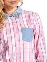 Różowa koszula w pasy z kołnierzykiem, mankietami i kieszonką z jasnego denimu                                  zdj.                                  6