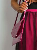 Różowa lakierowana kopertówka z klapką                                  zdj.                                  3