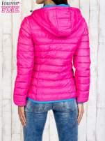 Różowa ocieplana kurtka z kieszeniami