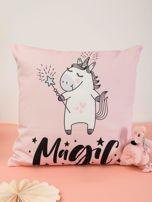 Różowa poduszka dekoracyjna z jednorożcem                                  zdj.                                  1