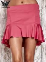 Różowa spódnica mini z falbanką