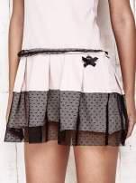 Różowa sukienka dresowa z kontrafałdami i tiulem w groszki                                  zdj.                                  6