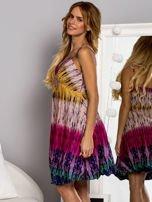 Różowa sukienka dzienna na ramiączka w stylu etno                                  zdj.                                  5