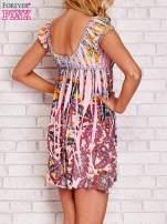 Różowa sukienka kwiatowa odcinana pod biustem                                                                          zdj.                                                                         4