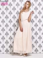 Różowa sukienka maxi z biżuteryjnym dekoltem                                  zdj.                                  2