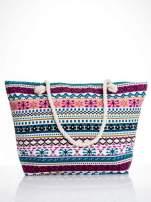 Różowa torba plażowa w azteckie wzory                                  zdj.                                  1