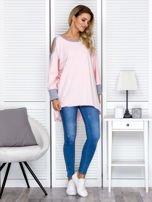 Różowa tunika oversize z ozdobną taśmą                                   zdj.                                  4
