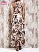Różowa wzorzysta sukienka maxi z dżetami                                   zdj.                                  2