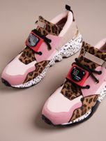 Różowe buty sportowe na podwyższeniu z kolorową podeszwą i motywem w panterkę                                  zdj.                                  5