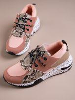 Różowe buty sportowe z wstawką w wężowy print                                  zdj.                                  5