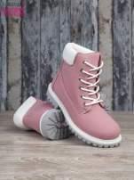 Różowe buty trekkingowe damskie traperki ocieplane                                                                          zdj.                                                                         4