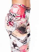 Różowe legginsy z nadrukiem magazines print                                  zdj.                                  7