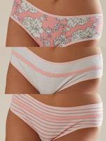 Różowo-białe wzorzyste majtki damskie                                  zdj.                                  1
