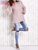 Beżowy futrzany sweter kurtka na suwak                                                                          zdj.                                                                         11