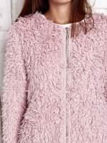 Ecru futrzany sweter kurtka na suwak                                                                          zdj.                                                                         7