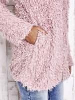 Ecru futrzany sweter kurtka na suwak                                                                          zdj.                                                                         8