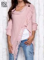Różowy otwarty sweter z podwijanymi rękawami                                                                          zdj.                                                                         1