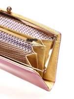 Różowy portfel z motywem skóry węża z biglem                                  zdj.                                  4