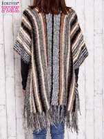 Różowy sweter poncho z frędzlami                                                                           zdj.                                                                         5